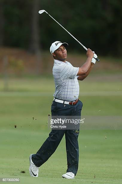 Harold Varner III of the USA plays his second shot during day three of the Australian PGA Championships at RACV Royal Pines Resort on December 3 2016...