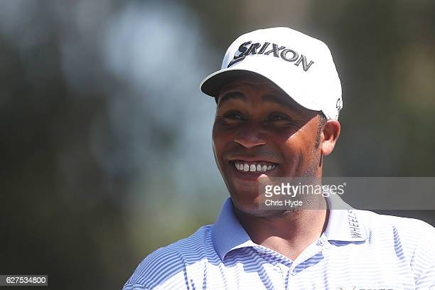Harold Varner III of the USA smiles during day four of the 2016 Australian PGA Championship at RACV Royal Pines Resort on December 4 2016 in Gold...