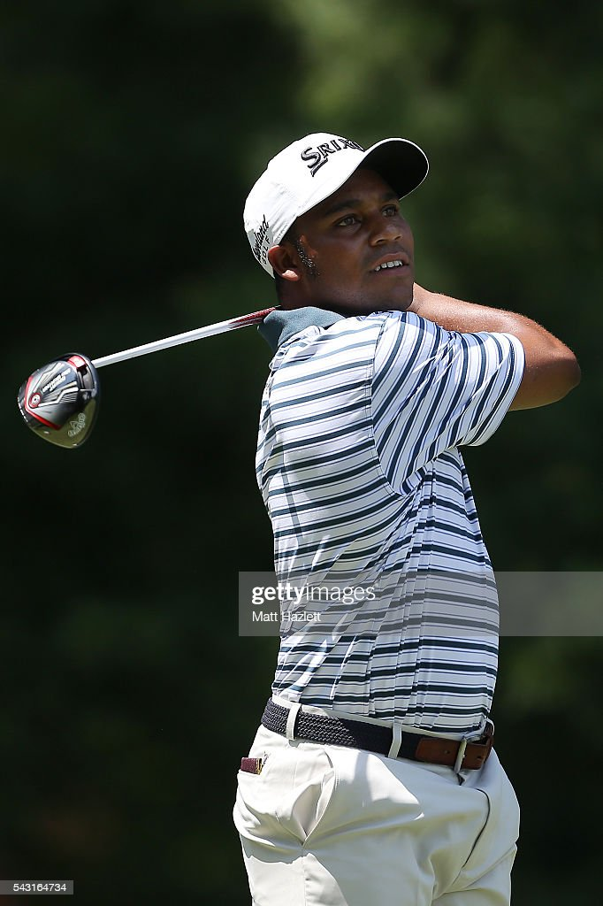 Harold Varner III plays a shot from the third tee during the third round of the Quicken Loans National at Congressional Country Club on June 26, 2016 in Bethesda, Maryland.