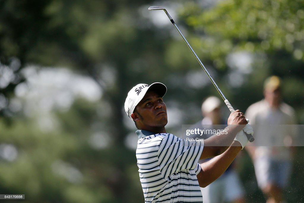 Harold Varner III plays a shot on the ninth hole during the final round of the Quicken Loans National at Congressional Country Club on June 26, 2016 in Bethesda, Maryland.