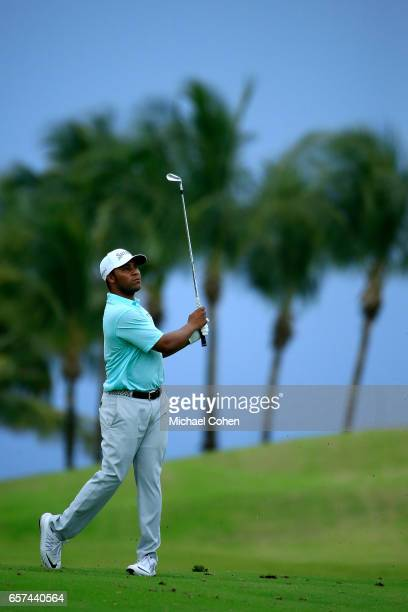 Harold Varner III plays his second shot on the 13th hole during the second round of the Puerto Rico Open at Coco Beach on March 24 2017 in Rio Grande...