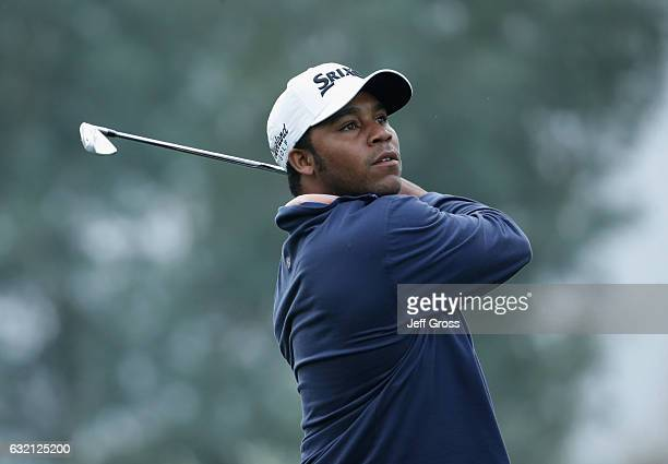 Harold Varner III plays his shot from the 12th tee during the first round of the CareerBuilder Challenge in Partnership with The Clinton Foundation...