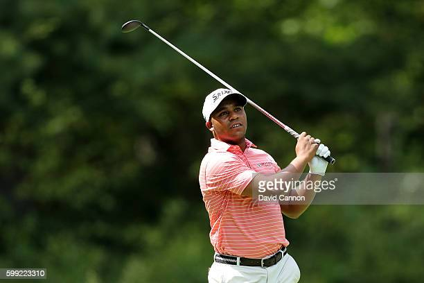 Harold Varner III plays his shot from the fifth tee during the third round of the Deutsche Bank Championship at TPC Boston on September 4 2016 in...