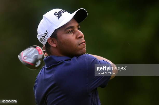 Harold Varner III plays his tee shot on the 11th hole during the second round of the Wyndham Championship at Sedgefield Country Club on August 18...