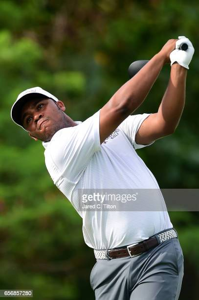 Harold Varner III plays his tee shot on the 15th hole during the first round of the Puerto Rico Open at Coco Beach on March 23 2017 in Rio Grande...