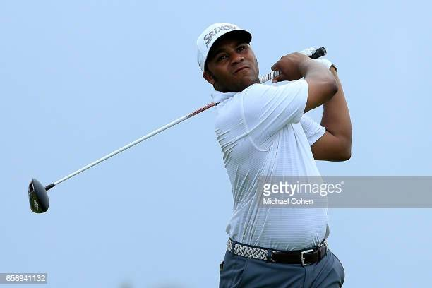 Harold Varner III plays his tee shot on the ninth hole during the first round of the Puerto Rico Open at Coco Beach on March 23 2017 in Rio Grande...