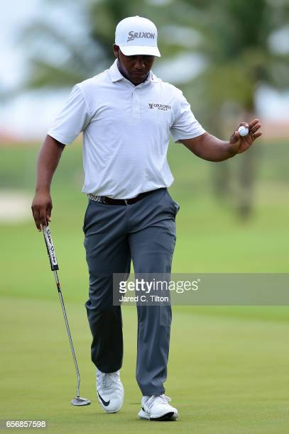 Harold Varner III reacts after making his birdie putt on the 18th green during the first round of the Puerto Rico Open at Coco Beach on March 23 2017...