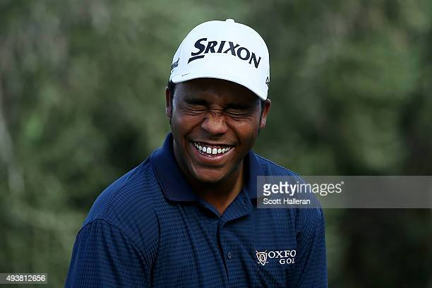 Harold Varner III reacts on the 16th tee during the first round of the Shriners Hospitals For Children Open on October 22 2015 at TPC Summerlin in...