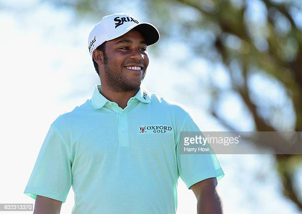 Harold Varner III reacts to his tee shot on the third hole during the third round of the CareerBuilder Challenge in Partnership with The Clinton...