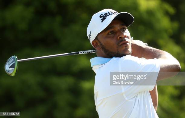 Harold Varner III tees off during the first round of the Zurich Classic at TPC Louisiana on April 27 2017 in Avondale Louisiana