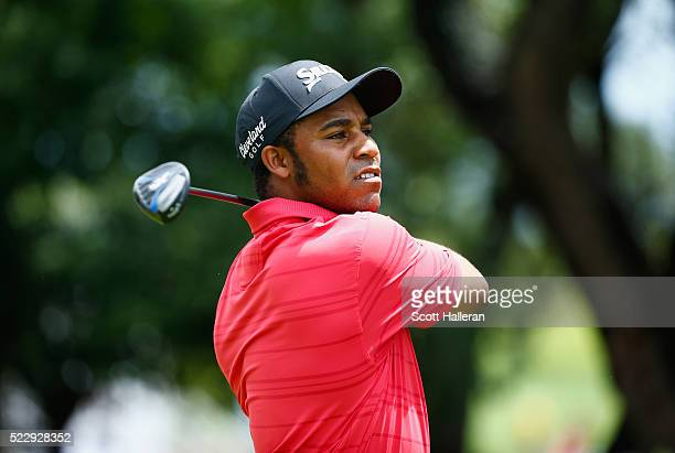 Harold Varner III tees off on the 17th hole during the first round of the Valero Texas Open at TPC San Antonio ATT Oaks Course on April 21 2016 in...