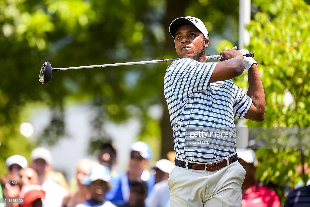 Harold Varner III tees off on the first hole during the final round of the Quicken Loans National at Congressional Country Club (Blue) on June 26, 2016 in Bethesda, Maryland.