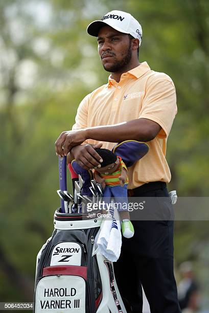 Harold Varner III waits to play his tee shot on the sixth hole during the third round of the CareerBuilder Challenge In Partnership With The Clinton...