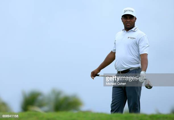 Harold Varner III watches his tee shot on the ninth hole during the first round of the Puerto Rico Open at Coco Beach on March 23 2017 in Rio Grande...