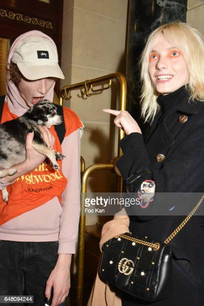 Harold Vnt his dog Dog Lemi and model Zlata Semenko attend the Vivienne Westwood Show as part of the Paris Fashion Week Womenswear Fall/Winter...