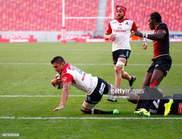 Harold Vorster of the Lions during the Super Rugby match between Southern Kings and Emirates Lions at Nelson Mandela Bay Stadium on March 25 2017 in...
