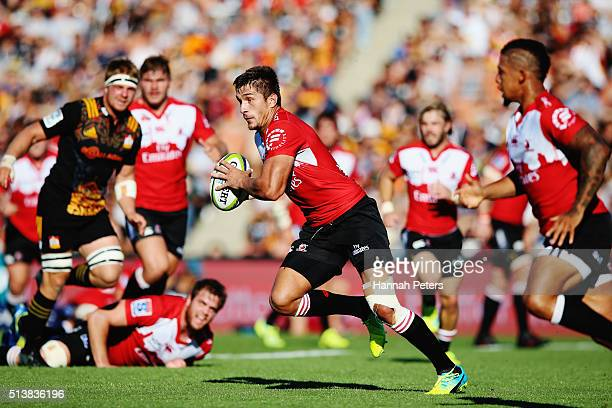 Harold Vorster of the Lions makes a break during the round two Super Rugby match between the Chiefs and the Lions at FMG Stadium on March 5 2016 in...