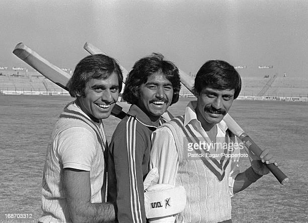 Haroon Rashid Javed Miandad and Wasim Raja 3rd Test Pakistan v England Karachi January 197778