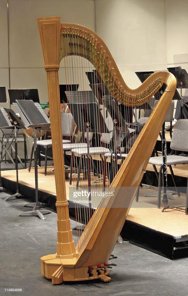 Harp on Stage at Intermission : Stock Photo