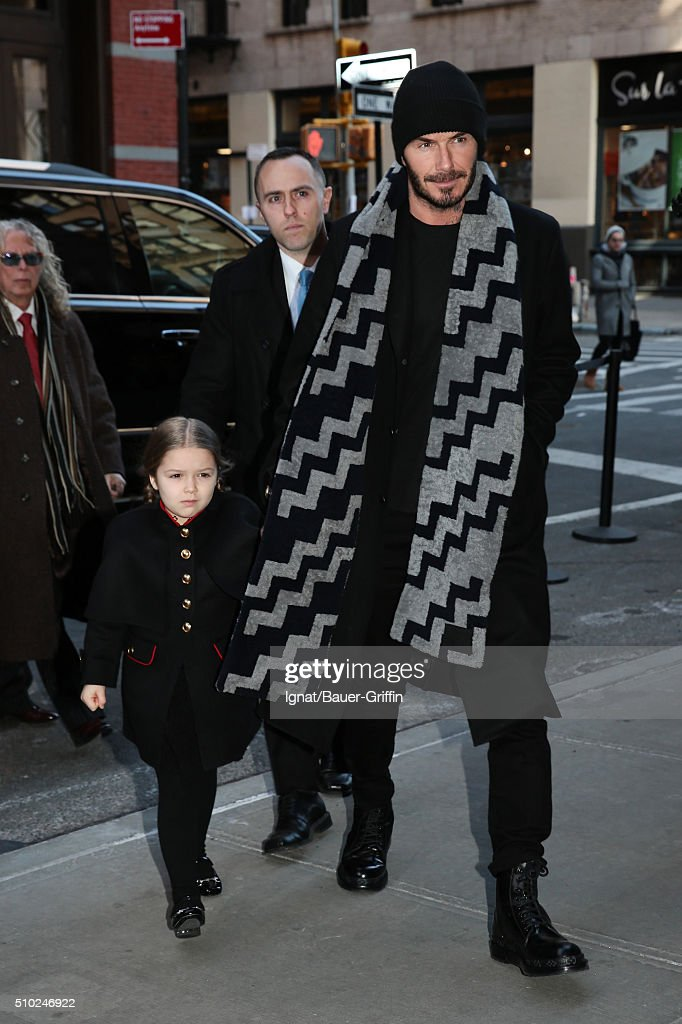 <a gi-track='captionPersonalityLinkClicked' href=/galleries/search?phrase=Harper+Beckham&family=editorial&specificpeople=8262359 ng-click='$event.stopPropagation()'>Harper Beckham</a> and <a gi-track='captionPersonalityLinkClicked' href=/galleries/search?phrase=David+Beckham&family=editorial&specificpeople=158480 ng-click='$event.stopPropagation()'>David Beckham</a> are seen on February 14, 2016 in New York City.