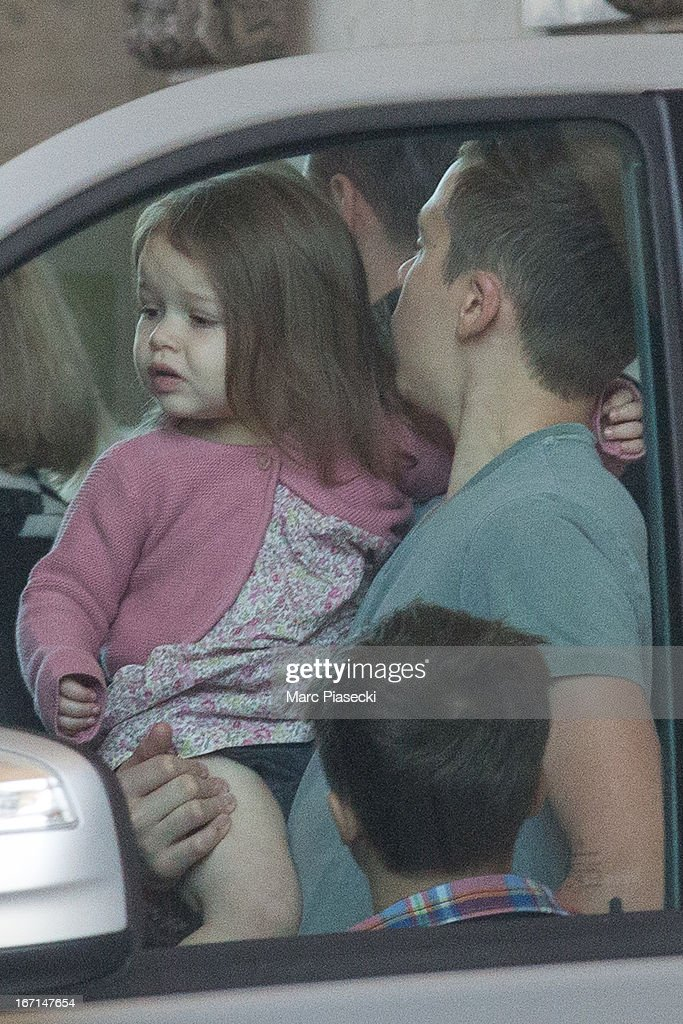 Harper Seven Beckham and her brother Brooklyn Joseph Beckham are seen leaving the Louvre museum on April 21, 2013 in Paris, France.