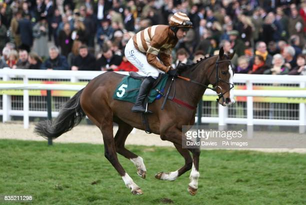 Harper Valley ridden by jockey Dominic Elsworth going to post prior to the Vincent O'Brien County Handicap Hurdle