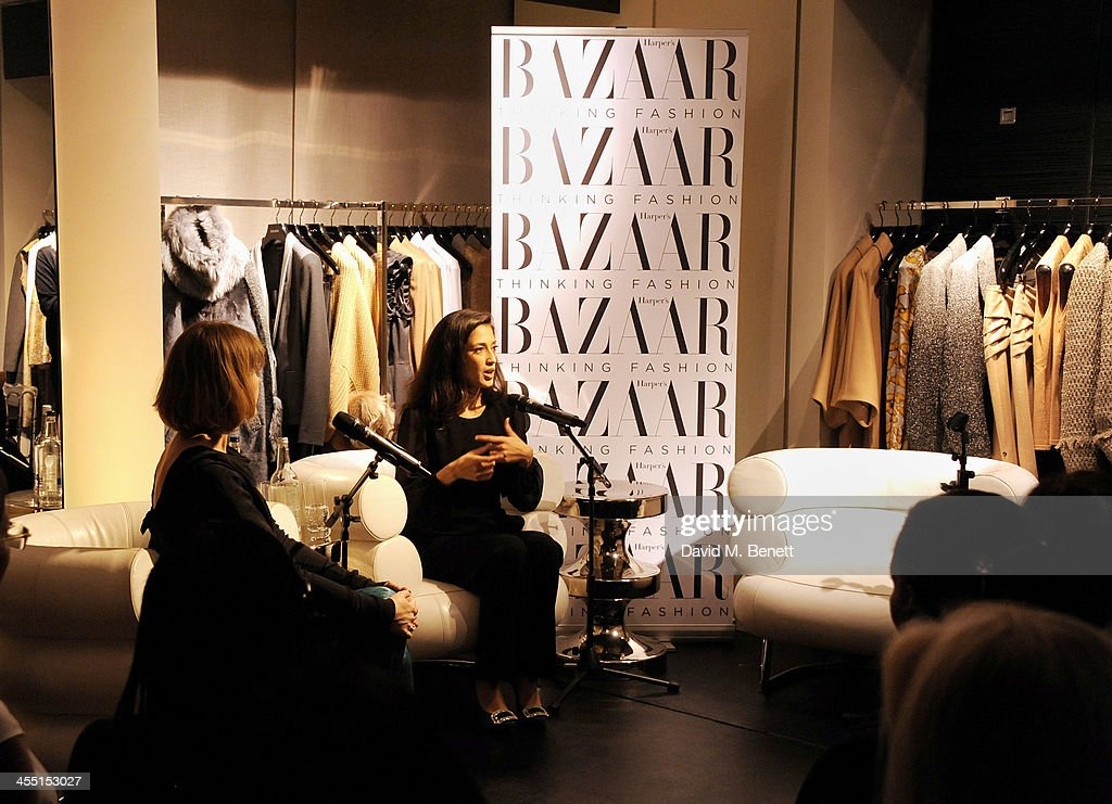 Harper's Bazaar Digital and Development editor Sacha Bonsor (L) and Fatima Bhutto speak at the ESCADA/Harper's Bazaar book reading with Fatima Bhutto, reading from her novel 'The Shadow Of The Crescent Moon', at the ESCADA Knightbridge boutique on December 11, 2013 in London, England.