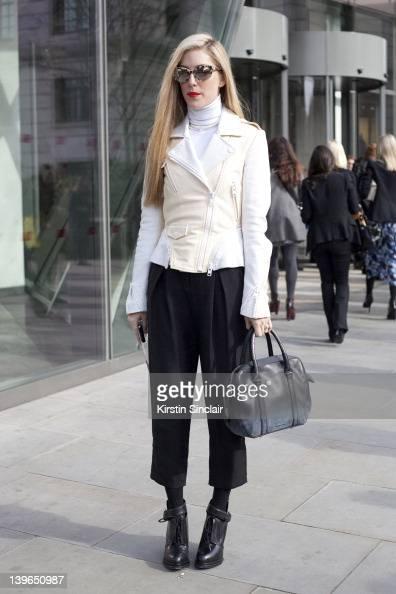 Harpers Bazaar Editor Joanna Hilman street style at London fashion week autumn/winter 2012 womenswear shows on February 20 2012 in London England
