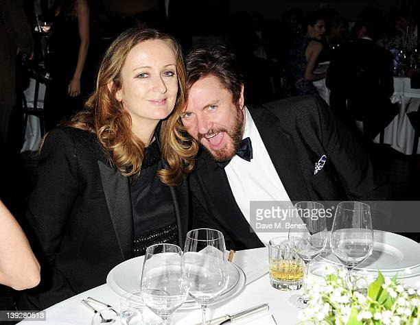 Harpers Bazaar editor Lucy Yeomans and musician Simon Le Bon attend a cocktail reception at the Stella McCartney Special Presentation during London...