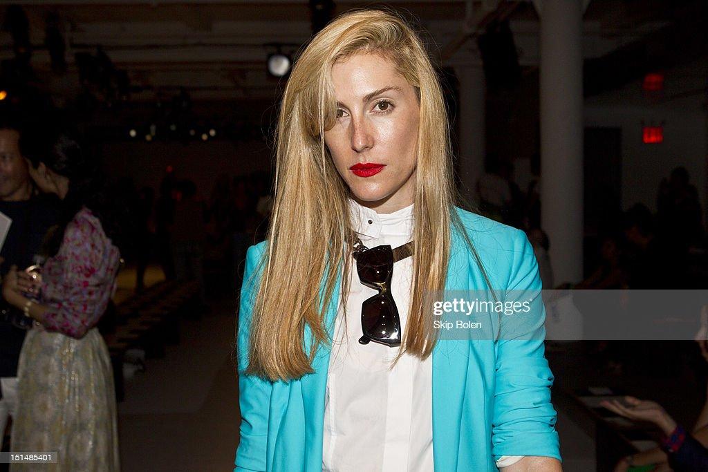 Harper's Bazaar Senior Fashion Market Editor Joanna Hillman attends the Suno spring 2013 fashion show during Mercedes-Benz Fashion Week at Milk Studios on September 7, 2012 in New York City.
