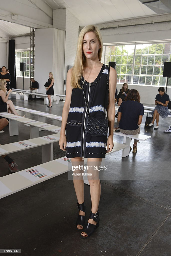 Harper's Bazaar senior fashion market editor Joanna Hillman attends the Tanya Taylor fashion show during Mercedes-Benz Fashion Week Spring 2014 at Industria Studios on September 5, 2013 in New York City.