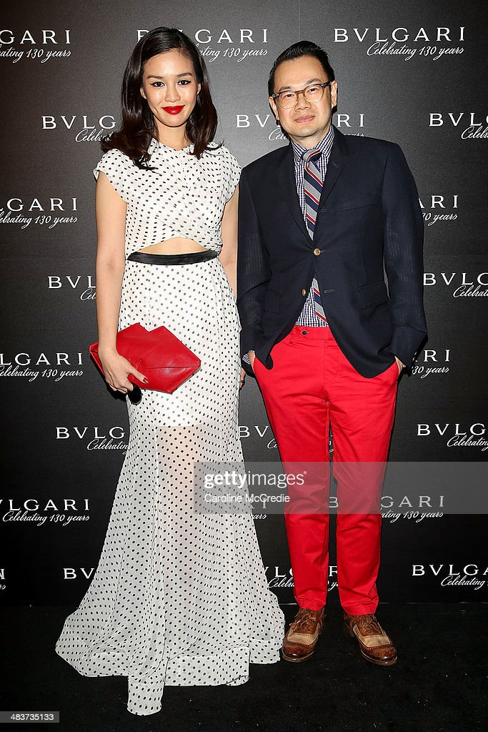 Harpers Bazaar Thailand Editor Duang Poshyanonda and Vogue Thailand Editor Kullawit Laosuksri at the 130th Anniversary of Bvlgari Gala Dinner on April 10, 2014 in Sydney, Australia.