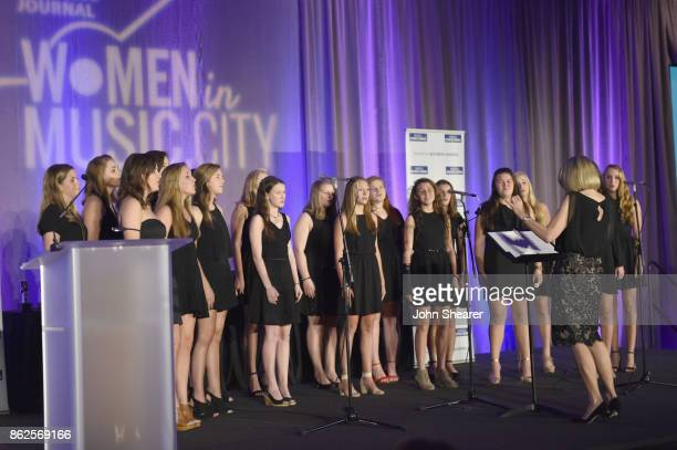 Harpeth Hall School Chamber Choir performs onstage at the 2017 Nashville Business Journal Women In Music City on October 17 2017 in Nashville...