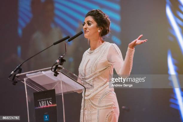 Harpz Kaur presents and award at the Audio Radio Industry Awards at First Direct Arena Leeds on October 19 2017 in Leeds England