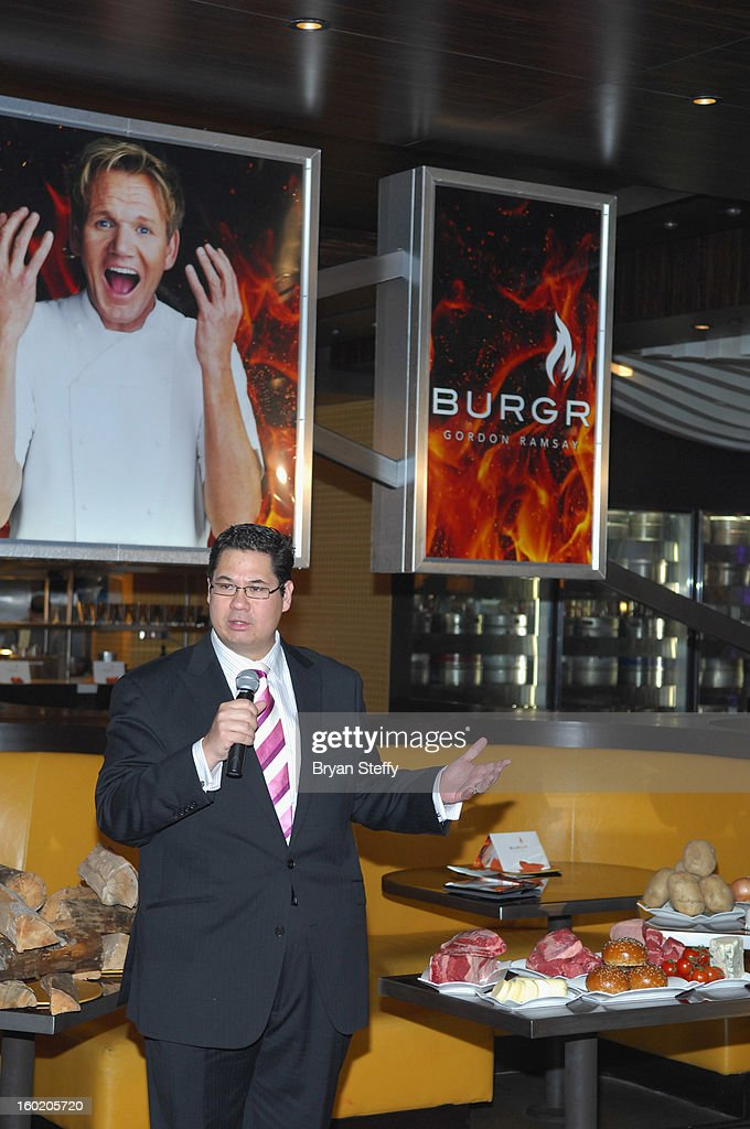Harrah's Regional Vice President of Food & Beverage Jeffrey Fredrick speaks during a traditional Sunday Roast at Gordon Ramsay BurGR at Planet Hollywood Resort & Casino in celebration of the opening of the restaurant as well as Gordon Ramsay Pub & Grill at Caesars Palace on January 27, 2013 in Las Vegas, Nevada.