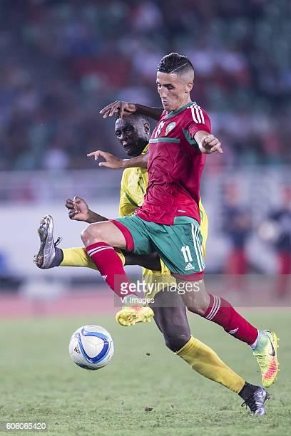 Harramiz Quieta Ferreira Soares of Sao Tome e Principe Facal Fajr of Morocco during the Africa Cup of Nations match between Morocco and Sao Tome E...