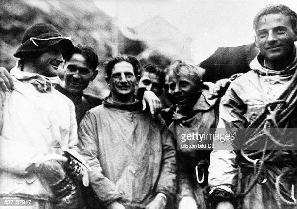 Harrer Heinrich 19122006 Alpinist geographer writer A First ascent of Eiger north face 2124July 1938 Welcome after return from mountain peak fltr...
