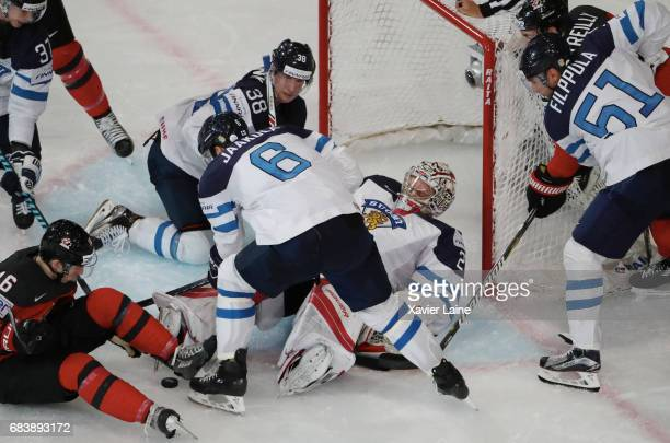 Harri Sateri of Finland stop the puck during the 2017 IIHF Ice Hockey World Championship game between Canada and Finland at AccorHotels Arena on May...