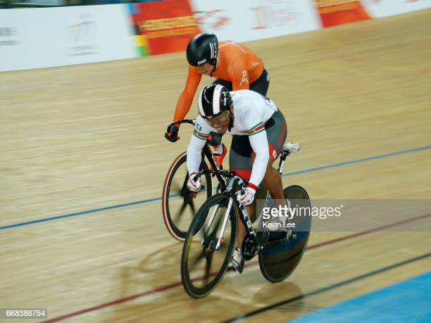 Harrie Lavreysen of the Netherlands and Jair Tjon En Fa of Suriname compete in the Men's Sprint 1/8 Final on Day 3 in 2017 UCI Track Cycling World...
