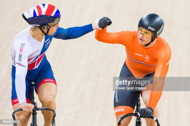 Harrie Lavreysen of the Netherlands and Ryan Owens of Great Britain hold hands after the Men's Sprint Semifinals 2nd Race during 2017 UCI World...