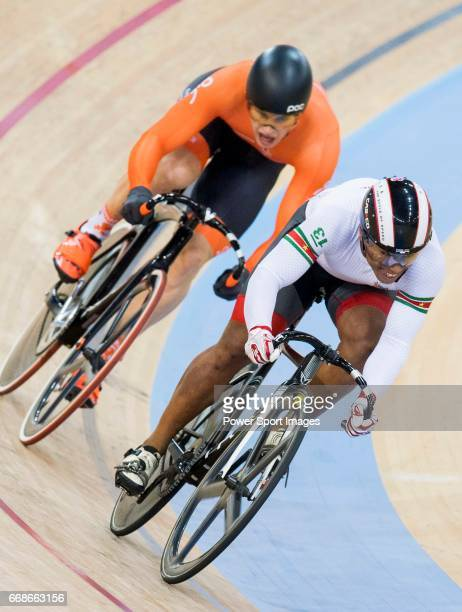 Harrie Lavreysen of the Netherlands team and Jair Tjon en Fa of the Suriname team competes in the Men's Sprint 1/8 Finals as part of the Men's Sprint...
