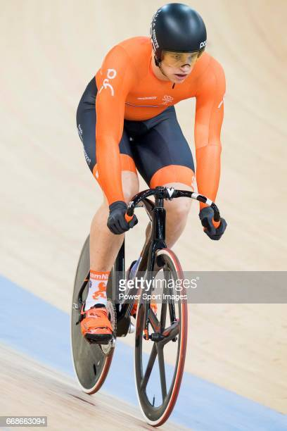 Harrie Lavreysen of the Netherlands team competes in the Men's Sprint 1/8 Finals as part of the Men's Sprint 1/8 Finals during 2017 UCI World Cycling...