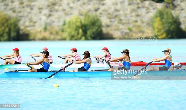 Harriet Dennison Ella Reuss Cameron Murphy Lucy Dickson and Amelia Hamilton of Wakatipu compete in the Girls under15 coxed four B final during the...