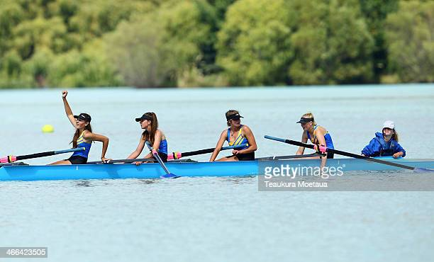 Harriet Dennison Ella Reuss Cameron Murphy Lucy Dickson and Amelia Hamilton of Wakatipu celebrate winning the Girls under15 coxed four B final during...