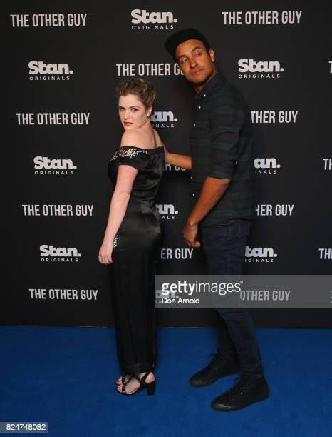 Harriet Dyer and Matt Okine arrive ahead of the premiere of Matt Okine's new series 'The Other Guy' at Museum of Contemporary Art on July 31 2017 in...