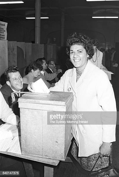 Harriet Ellis casts her vote during the 1967 referendum at polling booth at Sydney Town Hall A sweeping majority of Australians more than 101 voted...