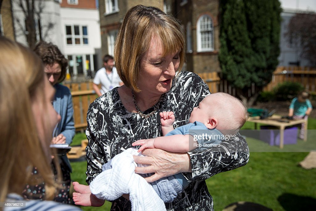 Harriet Harman, Deputy Leader of the Labour Party, holds George, aged 3 1/2 months, at Stockwell Gardens Nursery during the launch of the Labour Party's women's manifesto on April 15, 2015 in London, England. The Labour Party have launched their women's manifesto which includes a pledge to provide more free childcare and leave both for fathers and grandparents.