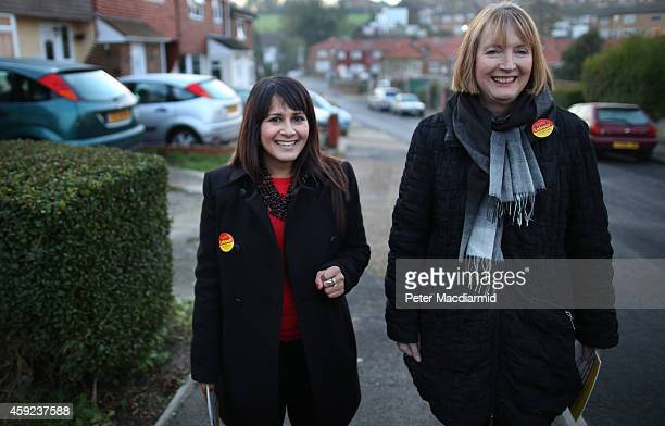 Harriet Harman Deputy Leader of the Labour Party joins Labour Party candidate Naushabah Khan as she campaigns on November 19 2014 in Rochester...