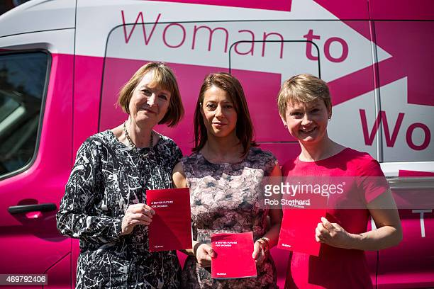 Harriet Harman Gloria De Piero and Yvette Cooper prospective parliamentary candidates for the Labour Party pose for a photograph at Stockwell Gardens...