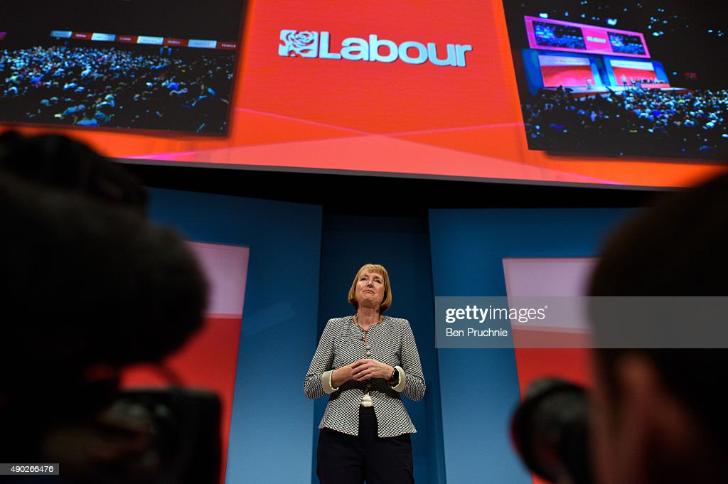 <a gi-track='captionPersonalityLinkClicked' href=/galleries/search?phrase=Harriet+Harman&family=editorial&specificpeople=839866 ng-click='$event.stopPropagation()'>Harriet Harman</a> talks to delegates during her tribute on the first day of the Labour Party Autumn Conference on September 27, 2015 in Brighton, England. The former acting labour leader recently stepped down after 28 years on the front bench.